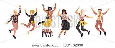 Happy Diverse Women. Girl Power Feminist Movement, Different Happy International Girls Group Jumping
