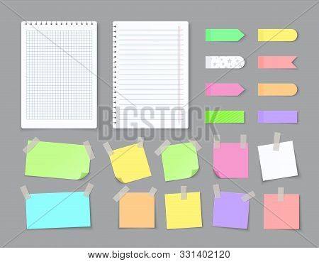 Notepaper With Adhesive Tape. Blank Stickers With Ripped Edges Lined With Grids, Colored Notebook Pa