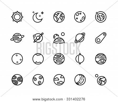 Planet Line Icons. Solar System Cosmos Planets With Earth Moon Jupiter Uranus And Other. Vector Illu