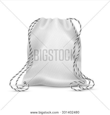 Realistic Drawstring Bag. White Cloth Bag With Ropes, 3d Isolated Sport Rucksack Or Accessory Pack M