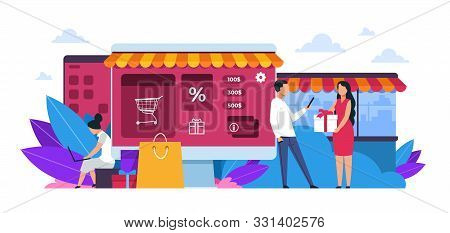 Shopping Concept. Cartoon People At Retail Store, Market Or Restaurant, Small Local Shop Or Supermar