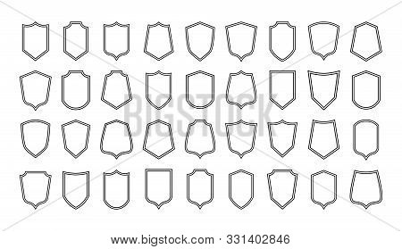 Shield Line Badges. Blank Emblems Template For Sport Club, Military And Security Coat Of Arms. Vecto