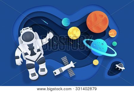Paper Cut Space. Cartoon Cosmonaut In Open Space With Stars Rocket Spaceship Planets And Clouds. Vec