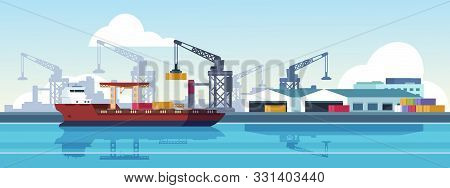 Marine Port. Shipping Transportation And Ocean Logistic Flat Banner, Cargo Ships And Freight Vessels