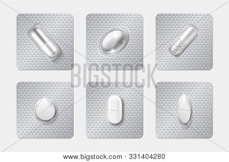 Realistic Pill Blisters Set. Medicine Capsule And Pills In Blister Pack. 3d Illustration Chemicals D