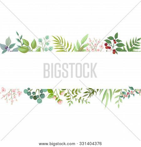 Vector Floral Greenery Card Design. Wedding Invite Poster With Rustic Garden Branches And Leaves. Tr