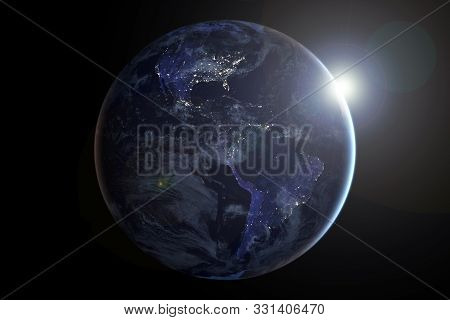 Planet Earth From Space. Elements Of This Image Were Furnished By Nasa.