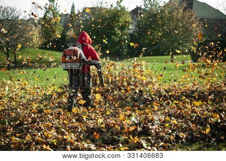 Man Blowing Autumn Leaves Away With A Leaf Blower, Seen From Behind