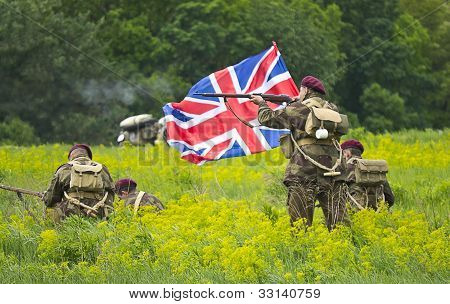 Kiev, Ukraine - May 13 : Members Of Red Star History Club Wear Historical Military British Uniform D