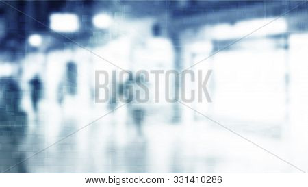 City Commuters. Abstract Blurred Image Of A City Street Scene. Blurred Unrecognizable Silhouettes Of