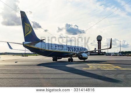 Gdansk; Poland - August 09; 2019: Ryanair Airplane At The International Airport In Gdansk. Ryanair I