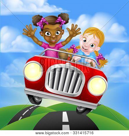 Cartoon Girls, One Black One White, Having Fun Driving Fast In A Car On A Road Trip
