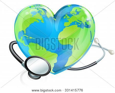 Heart Earth World Globe With A Stethoscope Wrapped Around It. Could Be For World Health Day