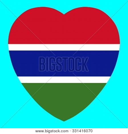 Gambia Flag In Heart Shape Vector Llustration Eps 10.