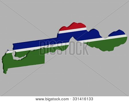 3d Gambia Map Flag Vector Illustration Eps 10.