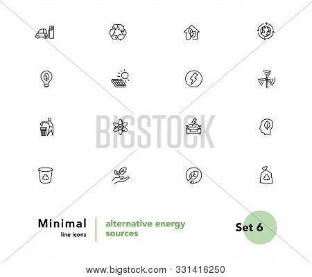 Alternative Energy Sources Vector Linear Icons Set. Ecology Renewable Energy Outline Symbols Pack. C