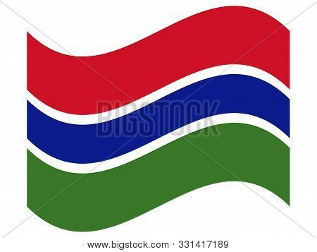Wave Flag Of The Gambia Vector Illustration Eps 10.