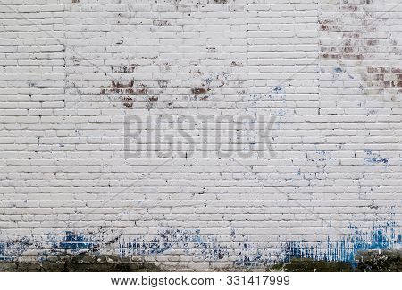 White Wall Background. Old Grungy Brick Wall Horizontal Texture. Brickwall Backdrop. Stonewall Wallp