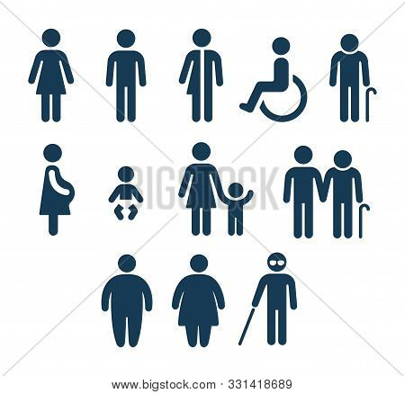 People Figures Icon Set. Bathroom Gender Signs And Health Conditions Symbols. Adults And Child Care,