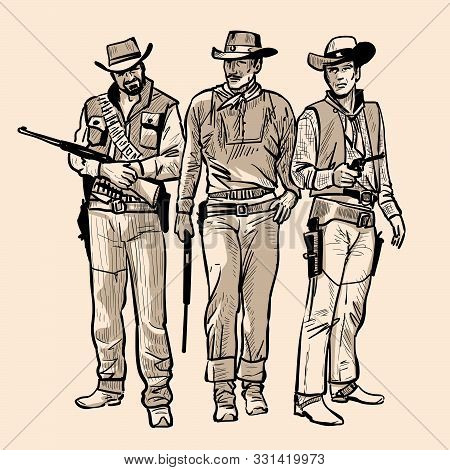 Three Cowboys With Guns. Men With Cowboy Hats And Rifle. Western Gunfighters. Digital Sketch Hand Dr