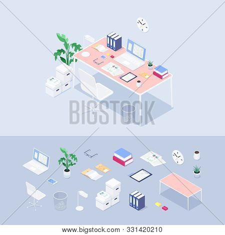 Isometric Office Concept. Workplace. Set Of 3d Icons: Desk, Chair, Laptop, Lapma, Coffee, Books, Pla