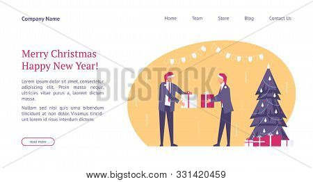Landing Page Template With Flat Concept Office Christmas Celebration, Happy Businessmen In Santa Hat