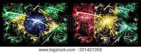 Brazil, Brazilian Vs Guinea, Guinean New Year Celebration Sparkling Fireworks Flags Concept Backgrou