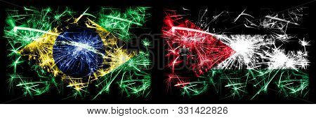 Brazil, Brazilian Vs Jordan, Jordanian New Year Celebration Sparkling Fireworks Flags Concept Backgr