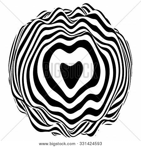 Optical Illusion Sphere. Abstract 3D Black And White Illusions. Vector Illustration.