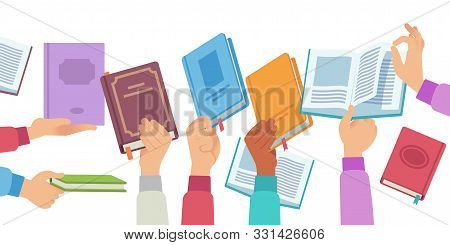 Hands With Books. People Holding And Reading Book And Magazine, Public Library Literature Reader. Ac