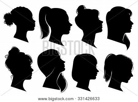 Woman Heads In Profile. Beautiful Female Faces Profiles, Black Silhouette Outline Avatars, Anonymous
