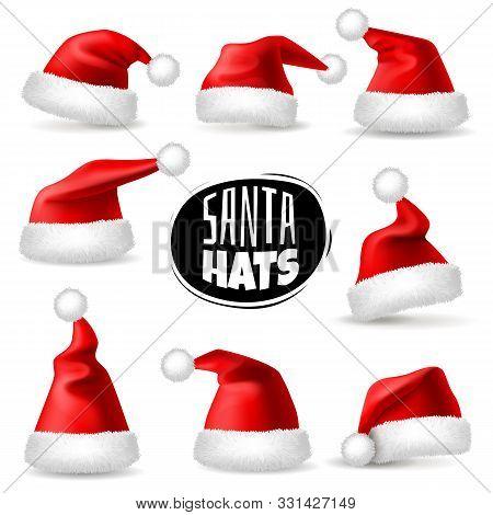 Santa Claus Hats. 3d Realistic Red Christmas Holiday Caps, Plush Cute Winter Headwear. Celebration C