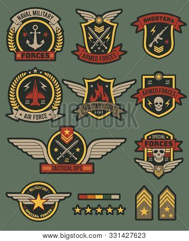 Military Army Badges. Patches, Soldier Chevrons With Ribbon And Star. Vintage Airborne Labels, T-shi