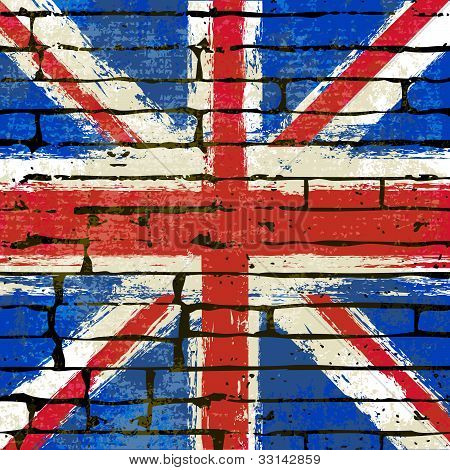Union Jack On A Brick Wall Background