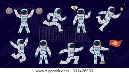 Cartoon Astronaut. Cosmonaut Characters In Different Poses Running, Standing And Walking, Flying. Co