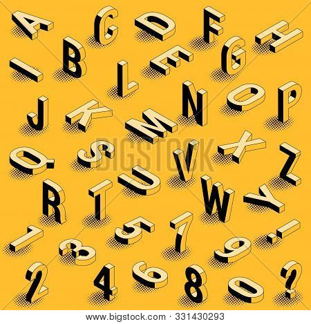 Black And Yellow Ink Drawing Styled Isometric Type Font Letters Design Element Set With Black Dot Ra