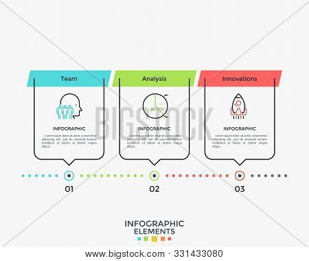 Linear Infographic Design Template With Three Elements Placed Into Horizontal Row. Concept Of 3 Succ