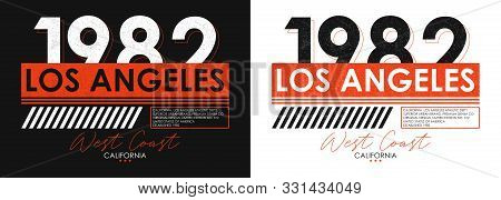 Los Angeles Athletic Typography For T-shirt Design. Set Of California T Shirt Print For Sportswear.