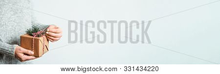 Female Hands Opening Gift Box On White Background, Copy Space Right.unrecognizable Caucasian Girl In
