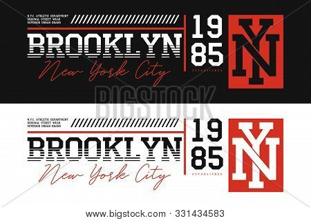Brooklyn, Nyc Athletic Typography For T-shirt Design. Set Of New York T Shirt Print For Sportswear.