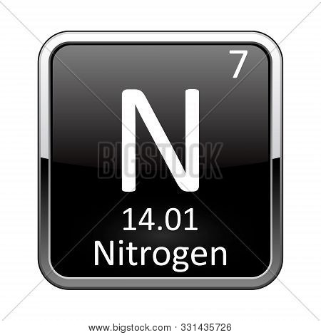 Nitrogen Symbol.chemical Element Of The Periodic Table On A Glossy Black Background In A Silver Fram