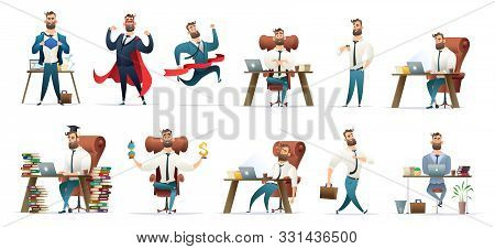 Bearded Charming Business Men In Different Situations And Poses. Manager Character Design. Businessm