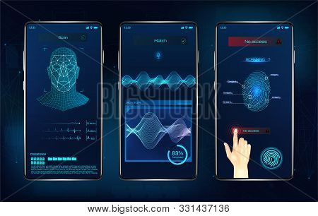 Modern Identification Smartphone App. Biometric Scanning Fingerprint, Face Recognition And Voice Rec