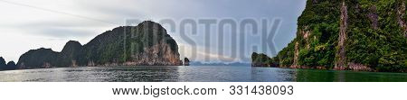 Island, Ocean Views Near Phuket Thailand With Blues, Turquoise And Greens Oceans, Mountains, Boats,