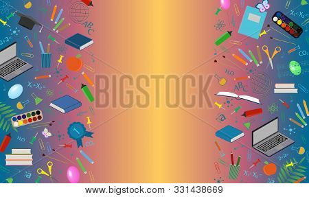 Blank Poster With School Subjects And A Place For Inscription. Colorful Background For September 1,