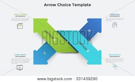 Four Colorful Intertwined Paper Arrows Pointing At Different Directions. Infographic Design Template