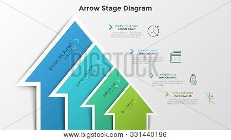 Ascending Bar Chart With 4 Colorful Arrow-like Elements. Stage Diagram. Modern Infographic Design Te