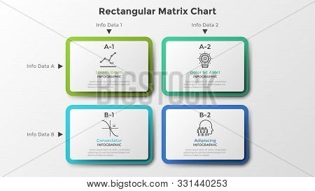 Matrix Chart With 4 Rectangular Paper White Cells Arranged In Rows And Columns. Table With Four Opti