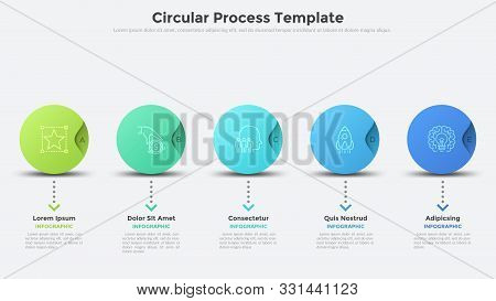 Five Colorful Round Elements Organized In Horizontal Row. Modern Infographic Design Layout. Concept