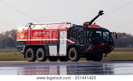 Borispol, Ukraine - October 29, 2019: Rosenbauer Panther Modern Fire Fighting Vehicle On The Runway